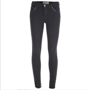 Current/Elliot Ankle Jean Jet Black with Studs A17